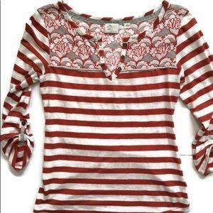 Anthropologie Postmark Red & White Stripe Floral